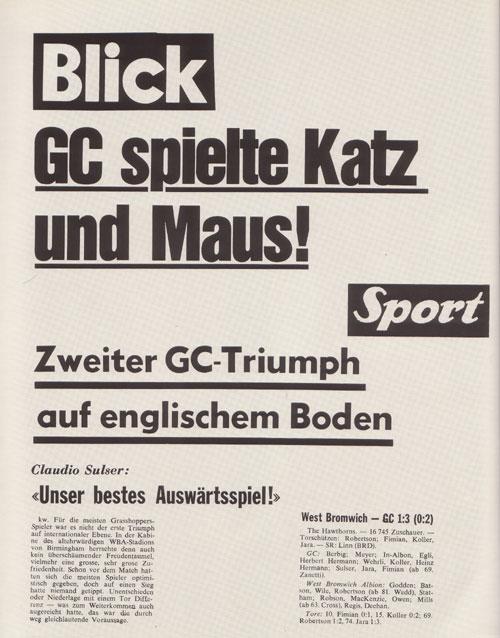 Ein unvergesslicher Artikel vom 30. September 1981: WBA 1:3 GCZ
