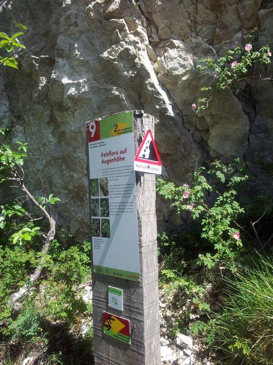 Dort, wo einem die Steine auf den Kopf fallen, steht die Informationstafel ...