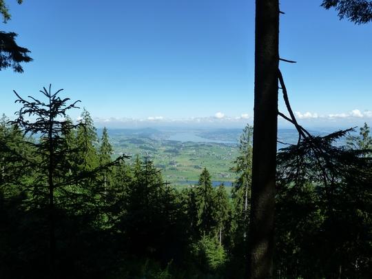 Blick vom Höhronen Richtung Zürich; unten das Hüttner Seeli.