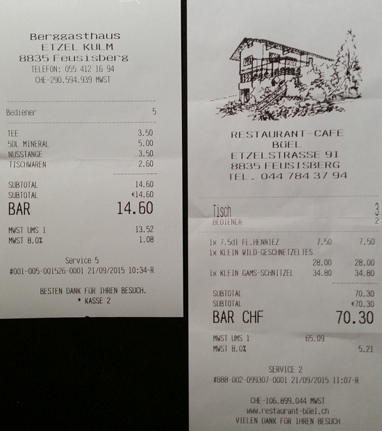 Links: Tischwaren = Chräpfli; rechts: das Mittagessen